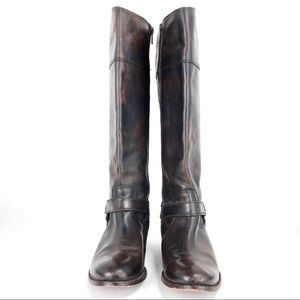 Frye Melissa Harness Dark Brown Wide Calf Zip Boot